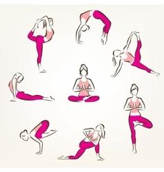 set of yoga and pilates poses symbols stylized vector image vector image