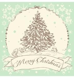 Vintage Christmas card design vector image vector image