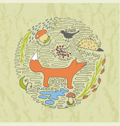 autumn hand drawn concept with fox vector image vector image