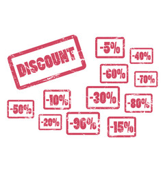 discount inscription with sale percent red framed vector image