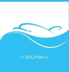 dolphin logo on blue sea wave background flat vector image