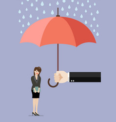 Hand holding an umbrella protecting business woman vector