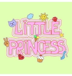 Little princess fot t-shirt print vector image vector image