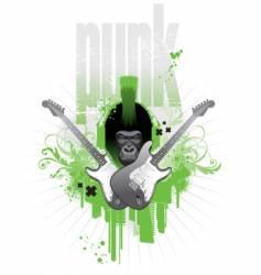 punk gorilla vector image vector image