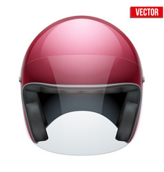 Red motorbike classic helmet with clear glass vector image vector image
