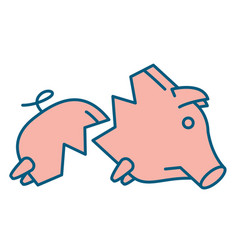 sad broken piggy bank or money box vector image