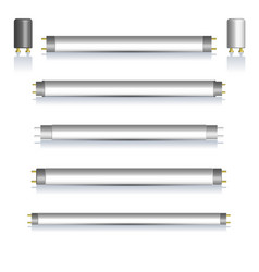 Set of fluorescent lamps with mirror reflection vector