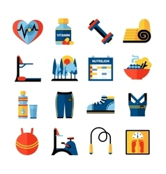 Fitness Flat Color Icons Set vector image