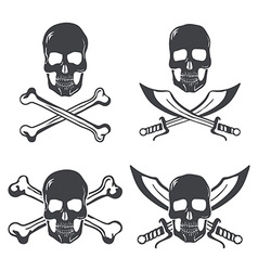 Pirate flag Design Elements Skull with bones and vector image vector image