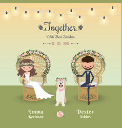 rustic bohemian cartoon couple wedding invitation vector image