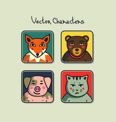 avatars with faces of animals vector image