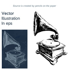 bright hand-drawn old gramophone in eps vector image