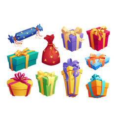 gift box icon of present packaging with ribbon bow vector image