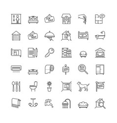 real estate related outline icons set vector image vector image