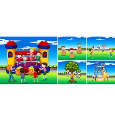 Scenes with children in the playground vector image vector image