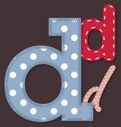 Set of stitched font - Letter D vector image vector image