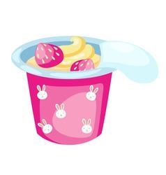 strawberry yogurt vector image vector image