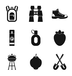 trekking icons set simple style vector image vector image