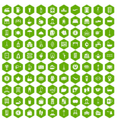 100 inn icons hexagon green vector