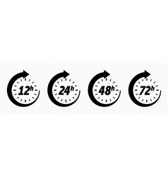 12 24 48 and 72 hours clock arrow delivery vector image