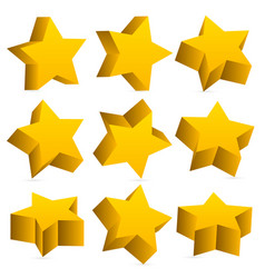 3d yellow stars with shadow vector image
