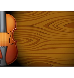 A guitar in front of a wooden wall vector image vector image