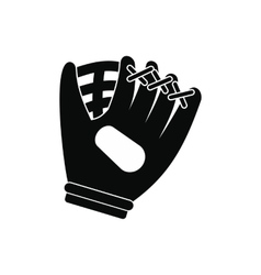 Baseball glove black simple icon vector