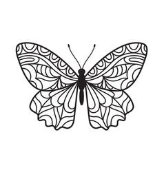 Beautiful butterfly hand drawn ornamental print vector