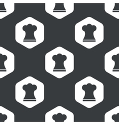Black hexagon chef hat pattern vector
