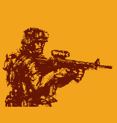 brave soldier with rifle in action vector image