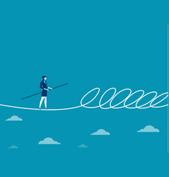businesswoman walking a tightrope and barrier vector image