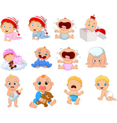Cartoon babies in different expressions vector