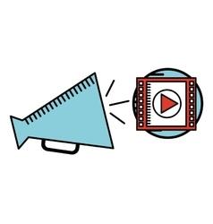 cartoon megaphone cinema movie icon vector image