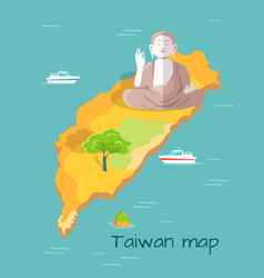 cartoon taiwan map with buddha statue vector image