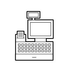 Cash register machine receipts printer keypad vector