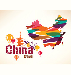 china travel background in vibrant colors with vector image