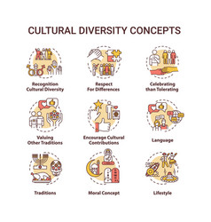 Cultural diversity concept icons set vector