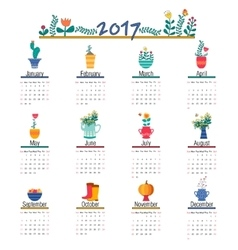 Cute Calendar Template for 2017 Beautiful Funny vector