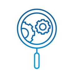 Data analysis magnifying glass gear engine vector