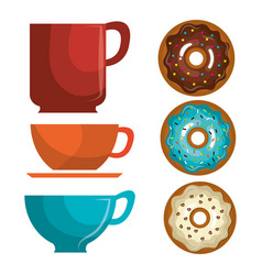 Delicious coffee cup and donuts vector