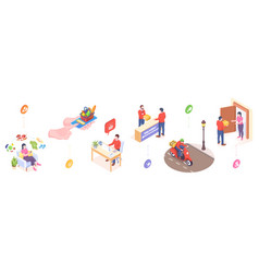 delivery online orders service isometric icons vector image
