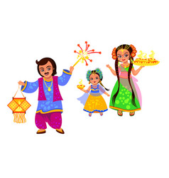 diwali holiday and family celebrating hindu feast vector image