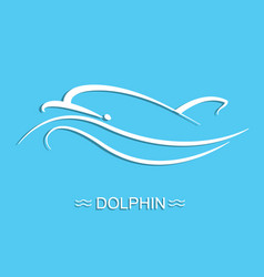 Dolphin logo on blue sea background flat vector