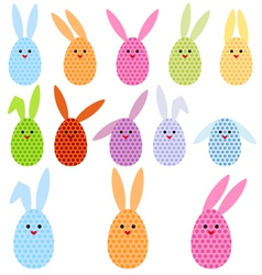 Easter egg bunnies vector
