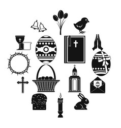 easter items icons set simple style vector image