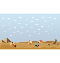 Excavation concept Egyptian vector image