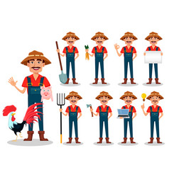 farmer cartoon character set vector image