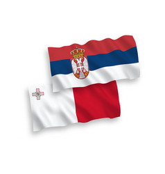 Flags malta and serbia on a white background vector