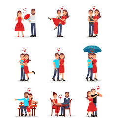 Flat set of romantic couples in different vector