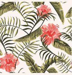 floral seamless pattern tropical flowers hawaiian vector image